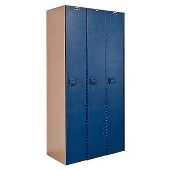 "Hallowell HPL3282-1A-TE AquaMax Plastic Locker, Single Tier, 3-Wide, 72"" Height x 36"" Width x 18"" Depth, Taupe Body and Door, Assembled"
