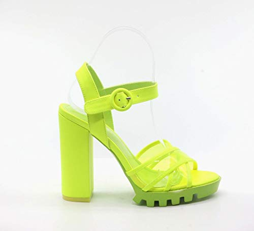 - Cape Robbin Speechless Lime Ankle Strap Lug Sole Clear Open Toe Platform Sandal (9)