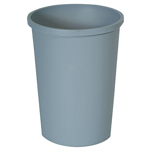 Rubbermaid Commercial 2947GRA Untouchable Waste Container, Round, Plastic, 11gal, Gray