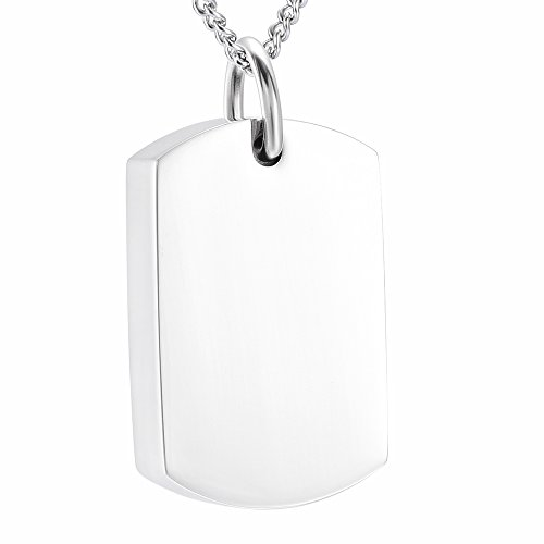 DIYjewelry Inc Engravable Blank Dog Tag Memorial Jewelry Cremation Ashes Necklace Urn Pendant Keepsake (Blank)