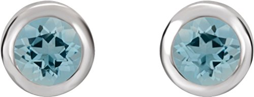 March Birthstone Stud Earrings, Rhodium-Plated 14k White Gold by The Men's Jewelry Store (for HER)