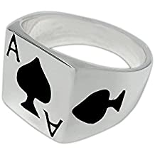 925 Sterling Silver Mens Ace of Spades Casino Poker Card Game Ring