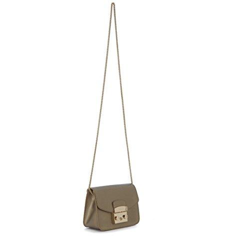 Borsa a tracolla Furla Metropolis Mini in pelle metallizzata bronzo