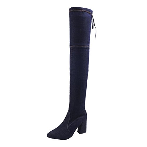 Fashion Pointed Boots Toe High Denim Heels Women's Boots Knee Over Colorful Slim Dark Shoes Blue TM Cw1W4q5