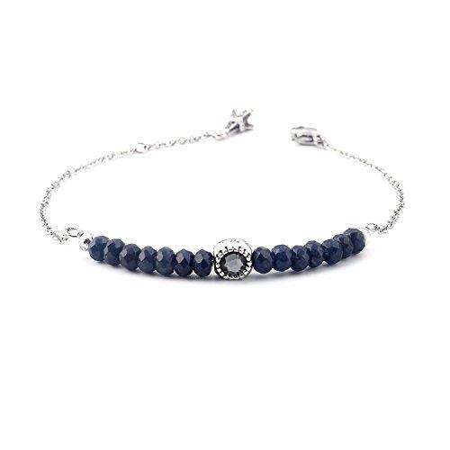 Custom Gemstone Bracelet - tom+alice 4MM Fashion Natural Precious Gemstone Gold and Stainless Steel Dainty Chain Link Bracelets for Women Austria Crystal (Navy-blue Silve)