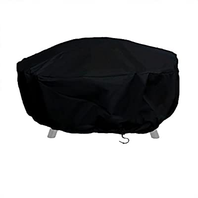 Sunnydaze Outdoor Round Fire Pit Cover, Heavy Duty 300D Polyester, Weather Resistant and Waterproof PVC Material, Black, 48 Inch