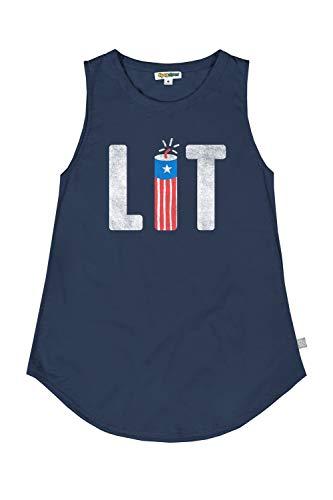 Tipsy Elves Women's Navy Lit Tank Top - USA Patriotic Shirt: S