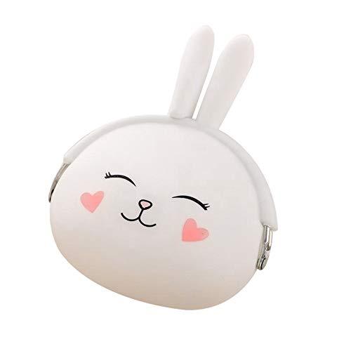 YRD TECH Rabbit Cartoon Animal Candy Colored Girls Coin Bags Key Wallets Women Children Cute Mini Coin Purse for Earphone Headphone (White)