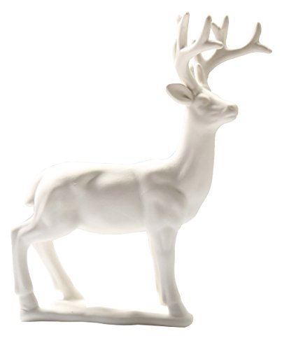 "Greencherry Christmas Decor 9.5"" Ceramic Standing Matte White Reindeer Figurine Statue Base"