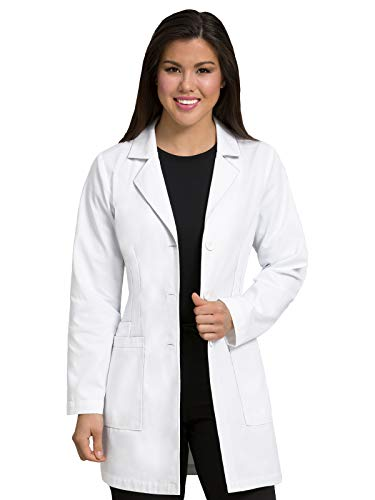 Med Couture Professional Women's Belted Back Mid-Length Lab Coat White XS