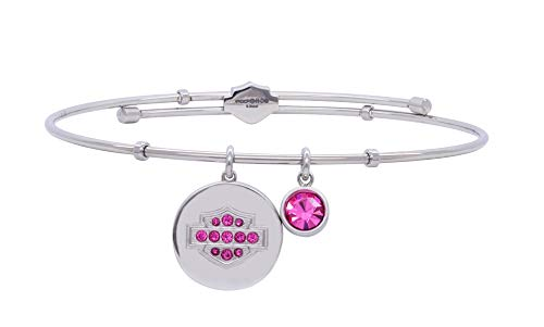 HARLEY-DAVIDSON Womens Stainless Steel June Birthstone Alexandrite Crystals Bangle Bracelet