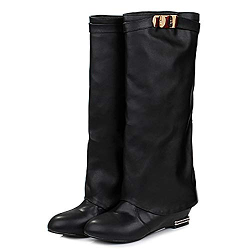 Heel On Boots pu Pull Knee Women Low Black Leisure Coolcept q6pZ4n