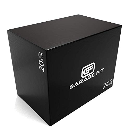 Garage Fit Wood Plyo Box - 30/24/20, 24/20/16, 24/20/18, 16/14/12-3 in 1 Plyo Box, Essential for Plyometrics Training and Box Jumps for Cardio and Exercise (20/24/30, Black Soft Foam)