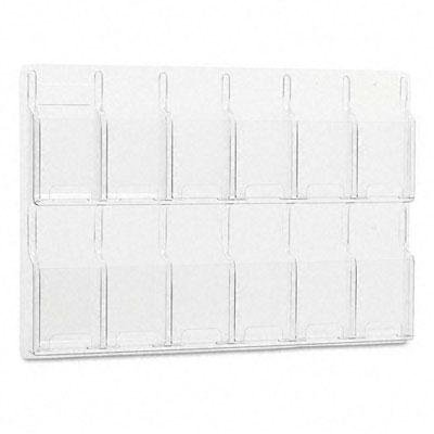 Safco - Reveal Clear Literature Displays 12 Compartments 30 W X 2D X 20-1/2H Clear ''Product Category: Office Furniture/Display Racks & Cases''