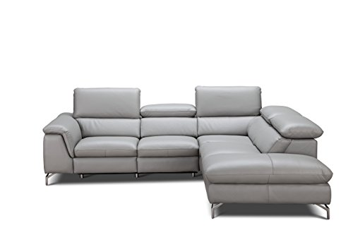 (J and M Furniture 18235-RHFC Viola Premium Leather Sectional Chaise)