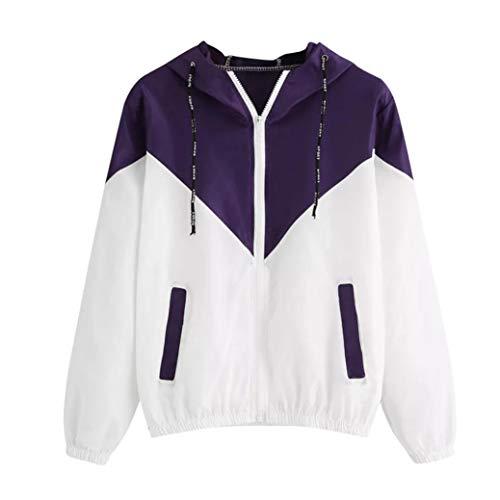 GOVOW Women Long Sleeve Patchwork Thin Skinsuit Women Clearance Sale Hooded Zipper Pockets Sport Coat