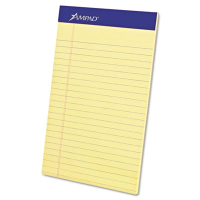 Writing Pad, Narrow Rule, 5 x 8, Canary, Perfed, 50-Sheet, Dozen, Total 12 DZ by Ampad