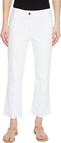 Elliott Lauren Women's Five-Pocket Crop Jeans with Eyelet Hem in White White 6 (Eyelet Crop Pants)