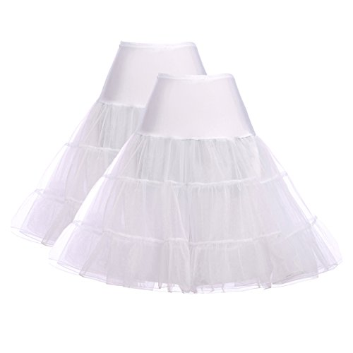 - GRACE KARIN 1950s Net Crinoline Tutu Hoopless Under Dress Petticoat (S,White,2Pack)