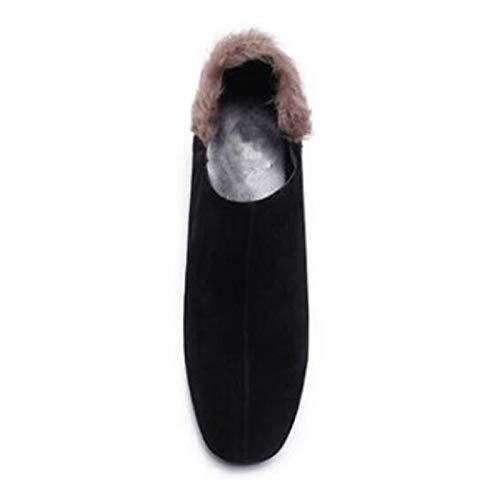 ZHZNVX Damen Schuhe Wildleder PU Winter Winter Winter Komfort Stiefel Chunky Ferse Runde Toe Stiefelies Stiefeletten Schwarz Braun 48c37d