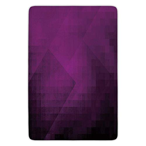 Bathroom Bath Rug Kitchen Floor Mat Carpet,Eggplant,Abstract Purple Squares in Faded Color Scheme with Modern Art Inspired Style Pixelart Decorative,Purple,Flannel Microfiber Non-slip Soft Absorbent ()