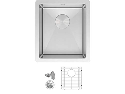 ZUHNE Modena 13 x 15 Inch Wet Bar, Small Prep, RV and Utility Kitchen Sink Undermount Single Bowl 16 Gauge Stainless Steel W. Scratch Protector Grate and Drain Strainer, Fits 15