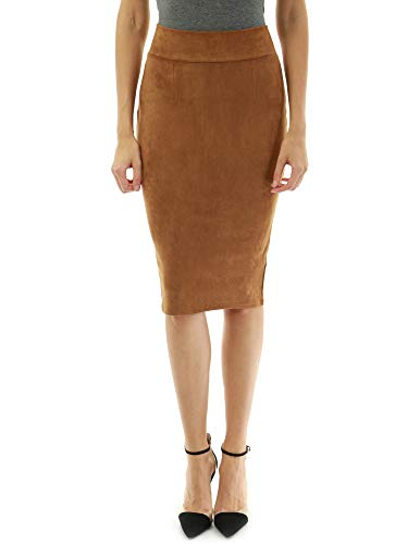 PattyBoutik Women Back Slit Pencil Skirt (Brown (Faux Suede) X-Small)