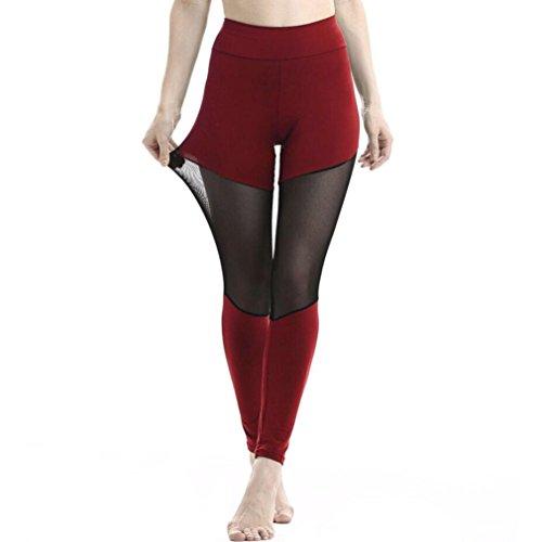 2018 Hot Sale Yoga Leggings, vermers Women Patchwork Mesh Casual Pants Fitness Trousers(L, Wine)
