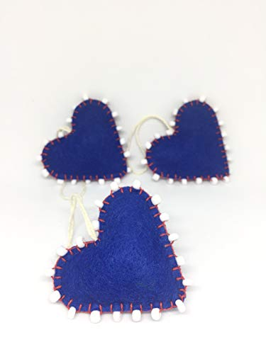 Hanging Blue Hearts Beaded Ornament Set of 3 with Natural Hemp Thread Decoration Festive Season