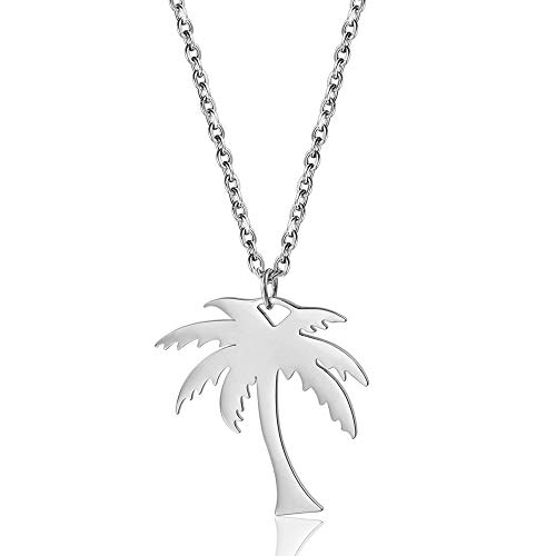 RUIZHEN Stainless Steel Tropical Palm Coconut Tree Beach Pendant Necklace for Women (Silver)