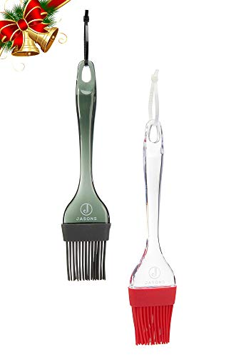 Jasons Premium Silicone Basting Brush- Set of 2 Large Baking Cooking Grilling Oil Brushes Black & Red Heat Resistant Dishwasher Safe With Complimentary Hanging Rings