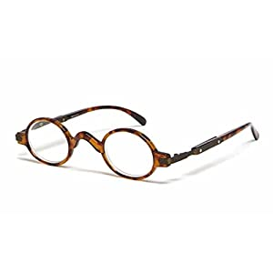 The Professor Teacher Round Oval Vintage Style Unisex Spring Hinge Reading Glasses For Men and Women Readers +3.00 Tortoise (Carrying Case Included)