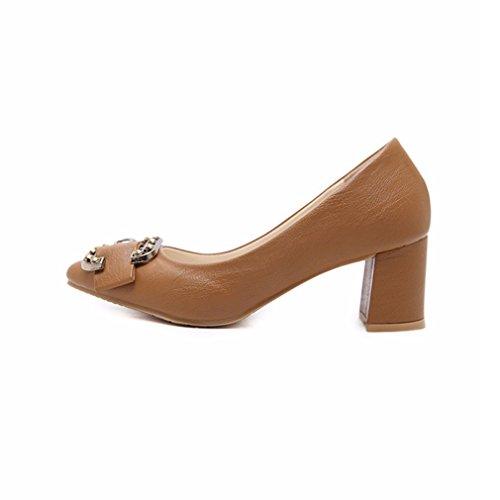 Giy Femmes Classique À Bout Carré Pompes Mocassins Confort Slip-on Plate-forme Boucle Bloc Talon Robe Mocassins Chaussure Marron