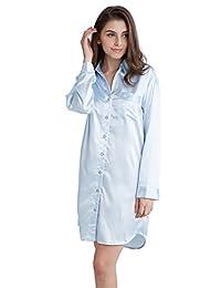 Women's Sleep Shirt, Satin Pajama Top Long Sleeve Nightshirt from Tony & Candice