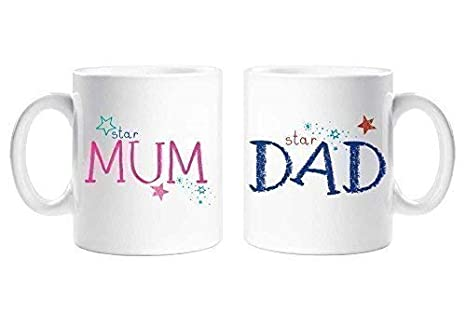 Star Mum Star Dad Mamma Papà Set Di Tazze Genitori Regalo Mamma E