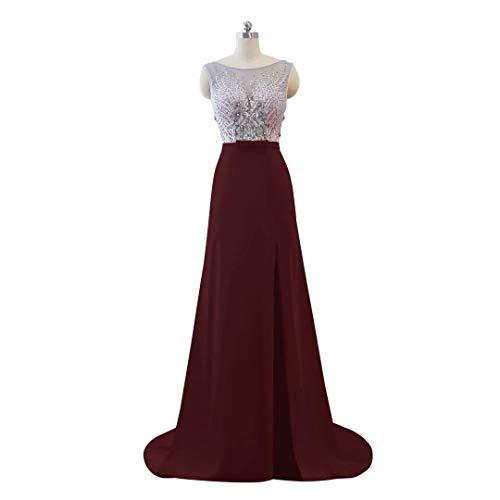 Ausschnitt Formale Weinrot Abendkleid Frauen Split Hohe Lange Spitze Perlen V der Ballkleider 0dwxP