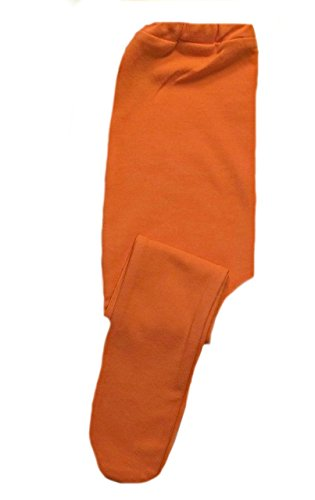 Jacqui's Baby Girls' Orange Cotton Spandex Knit Tights, 6-12 Months