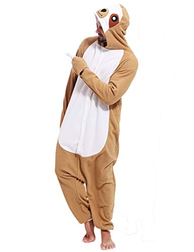 Adult Sloth Onesies Pajamas Cosplay Animal Homewear Sleepwear Jumpsuit Costume for Women Men ()