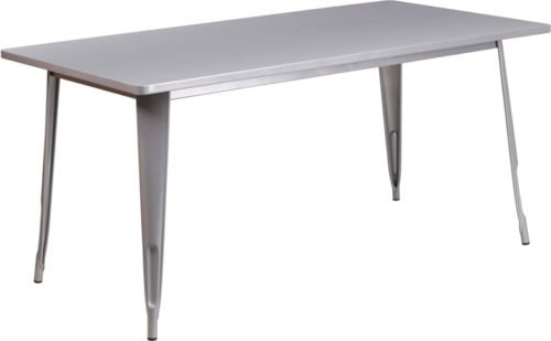 31.5''X 63'' Rectangular Industrial Style Silver Metal Indoor and Outdoor Restaurant Table by Flash Furniture