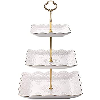 Cupcake Stand PP plastic Square 3 Tier Cupcake Display Stand Fruits Deserts Tray for Party Afternoon Tea PP Material by FUNZON FH003