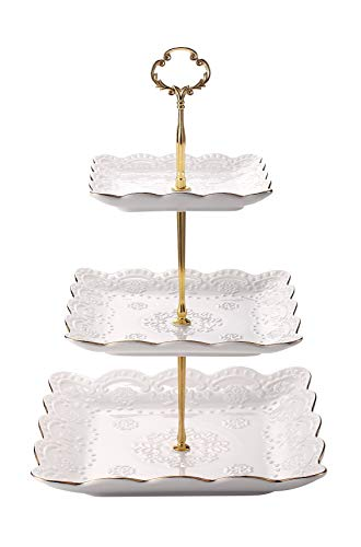 3-Tier Square Ceramic Cupcake Stand - Golden Edge Elegant Embossed Porcelain Dessert Display Cake Stand - For Birthday Weddings Tea Party