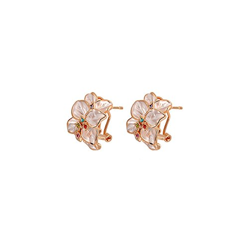 Deezire Jewels Multi Color Gem Rose Gold Vermeil Flower Clip Earrings by Fashion Jewelry For - Vermeil Flower Earrings Gold