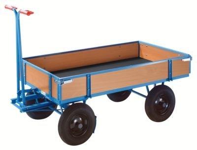 EUROKRAFT Handpritschenwagen - Tragfähigkeit 1000 kg, mit 4 Bordwänden Ladefläche 1210 x 760 mm, Luftreifen - Handpritschenwagen Handwagen Pritsche Pritschen Pritschenwagen
