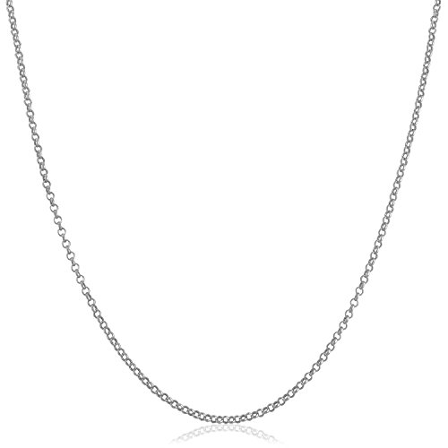 Rolo 14k (Kooljewelry Solid 14k White Gold 1.1mm Rolo Chain Necklace (18 inch))
