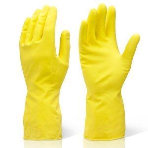 Prima Reusable Latex Rubber Gloves, Yellow -Set of 2 Pair