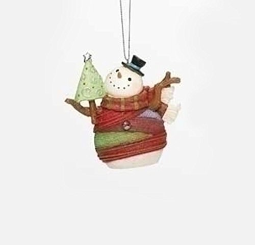 """3.75"""" Colorful Striped Yarn Wrapped Snowman with Tree Christmas Ornament"""