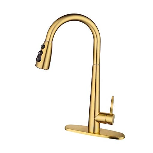 Kitchen AMAZING FORCE Gold Kitchen Faucet Modern Pull Out Kitchen Faucets Stainless Steel Single Handle Kitchen Sink Faucet with… modern sink faucets