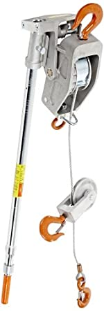 Lug-All 15SH Cable Ratchet Hoist-Winch with Hook, 15' Lifting Height, 6613.87 lbs Load Capacity