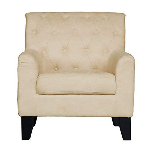 Ebron Accent Chair for Living Room Removable Cushion Sofa Arm Chair with Wooden Footrest (Chairs Slipcovered Club)