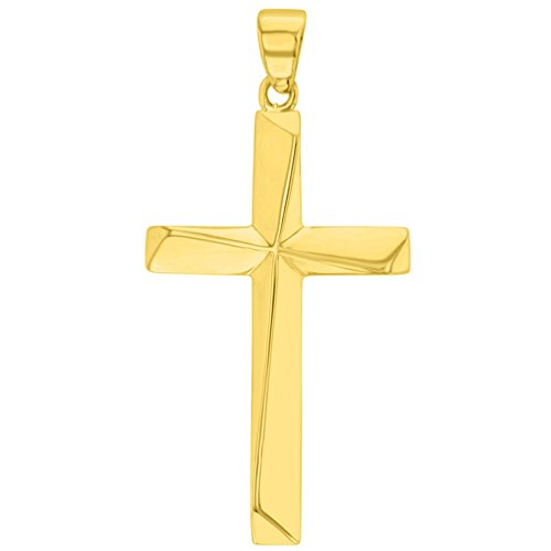 - Solid 14K Yellow Gold Elegant Religious Plain Cross Pendant